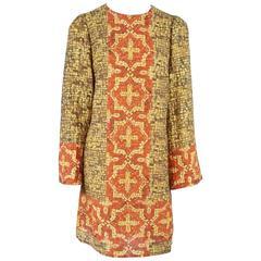DOLCE & GABBANA Earthtones L/S Mosaic Silk Print Shift Dress-L