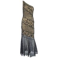 Oscar de la Renta Black Lace One Shoulder beaded Gown-10-Circa 90's