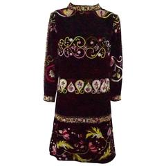 Emilio Pucci Black & Multi Velvet shift dress w/ bracelet sleeve-12 - Circa 60's