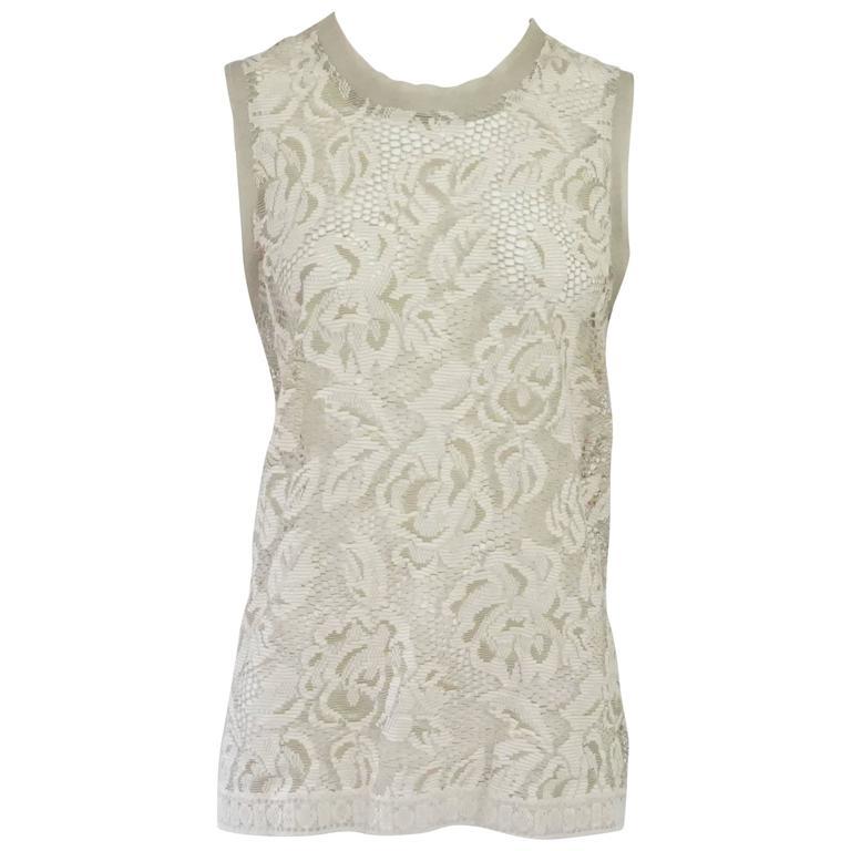 Dolce & Gabbana Beige Cotton/Silk Blend Lace Tank Top - 42