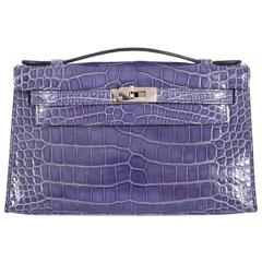 Hermes Kelly Bag Pochette Blue Brighton Alligator Discontinued Color JaneFinds