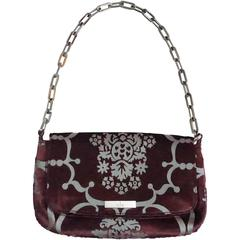 Gucci Eggplant Velvet and Grey Print Shoulder Handbag - PHW