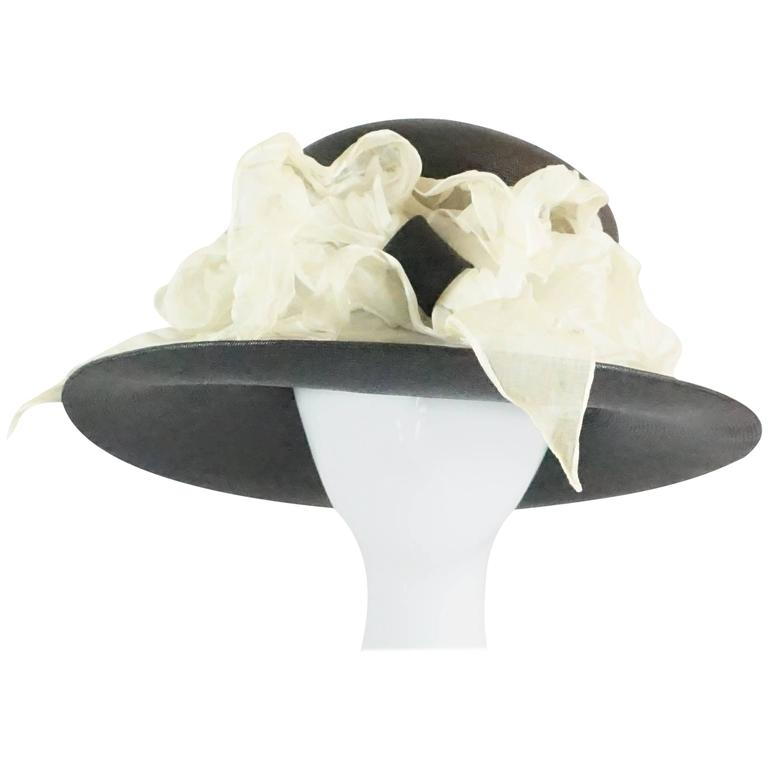 Suzanne Couture Millinery Black French Straw Hat w/ Ivory Silk Ruched Ribbon
