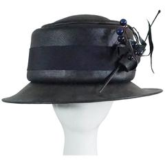 Suzanne Couture Millinery Black & Navy French Straw Hat w/ Ribbon & Bead detail