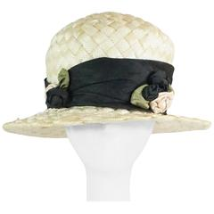 Suzanne Couture Cream Swiss Braided Straw Woven Hat w/ Black Silk frabric