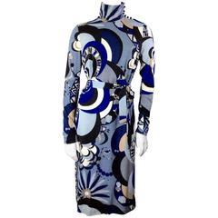 Emilio Pucci Vintage Blue Print High Neck Dress