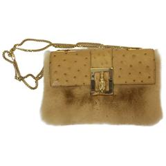 Gucci Vintage Mink Ostrich Tiger Head Leather Flap Tan Bag