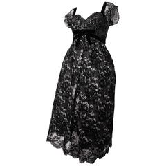 50s Black & White Lace Cocktail Dress