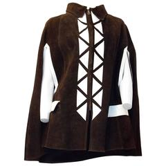 70s Chocolate Brown Suede Cape with White Piece Work