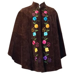 70s Suede Cape with Embroidered Flowers