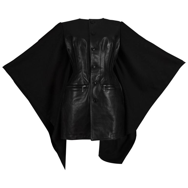 Junya Watanabe Comme des Garcons black leather jacket with wool cape, circa 2011