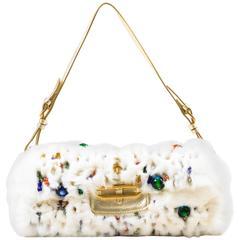 "Jimmy Choo White Rabbit Fur Multicolor Beaded Gold Tone Handle ""Tulita"" Bag"