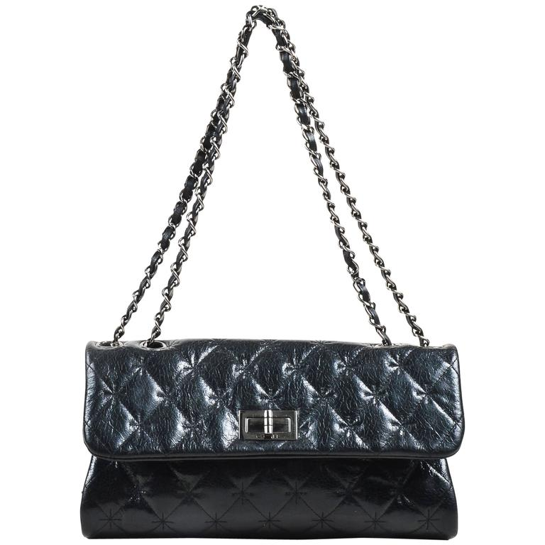 Chanel Black SHW Quilted Glazed Crackled Leather Mademoiselle Chain Strap Bag 1