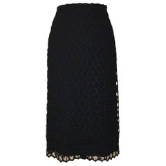 Alexander McQueen 2012 Intricate Black Honeycomb Lace Straight Pencil Skirt