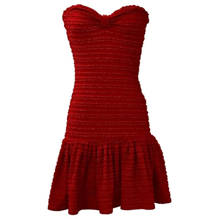 Patrick Kelly Vintage Red Strapless Ruffle Skirt Tube Sun Dress, 1980s  For Sale