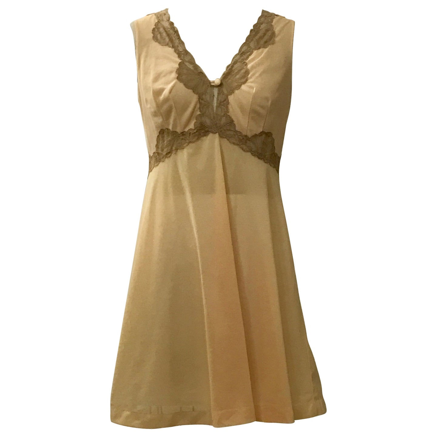 Emilio Pucci for Formfit Rogers Vintage Peach Beige Chemise Slip Nightgown, 1960