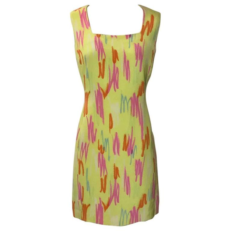 Gianni Versace Couture Vintage Yellow Neon Highlighter Scribble Dress, 1990s