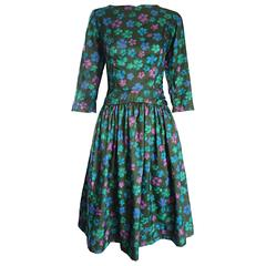 Carole King Vintage 1950s Green Watercolor Floral Silk 3/4 Sleeves 50s Dress