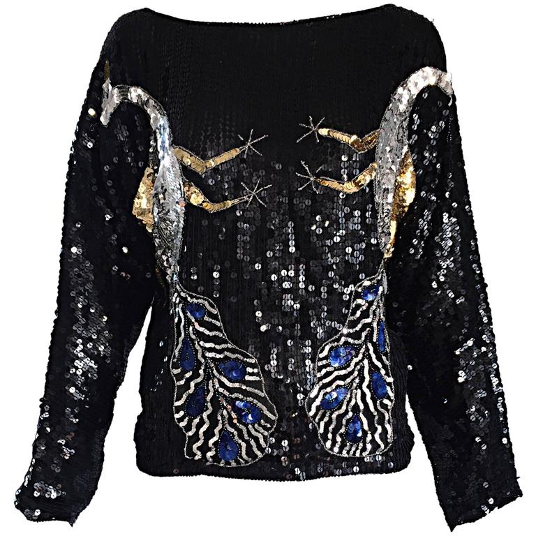 Amazing Vintage Fully Sequined ' Peacocks ' Black Silk Long SLeeve Blouse Top