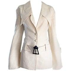 Vintage Karl Lagerfeld Ivory Shantung Silk Avant Garde ' Clock Tower ' Jacket