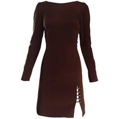 NWT Vintage James Purcell Size 6 1990s Brown Long Sleeve Silk Crystal Dress