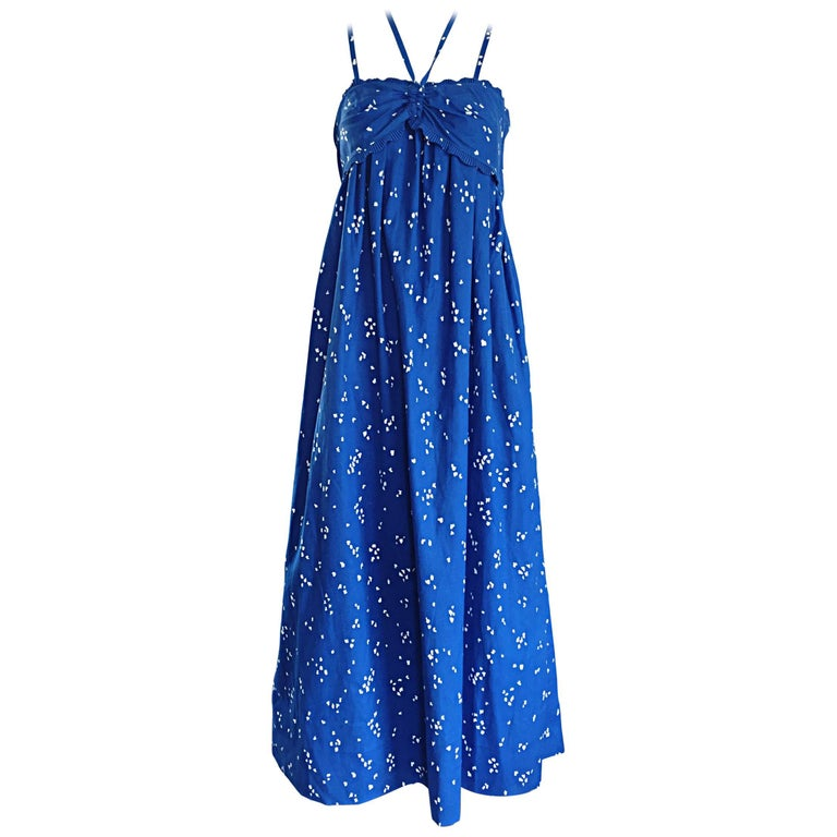 Bill Tice For I Magnin 1970s Hand Painted Blue + White 70s Halter Maxi Dress  For Sale
