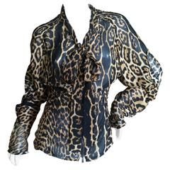 Yves Saint Laurent Silk Leopard Print Top by Tom Ford
