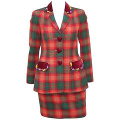Adorable 1990's Moschino Plaid Skirt Suit With Velvet Heart Buttons
