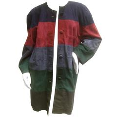 Plush Doeskin Suede Jewel Tone Coat Designed by Gianni Versage Italy