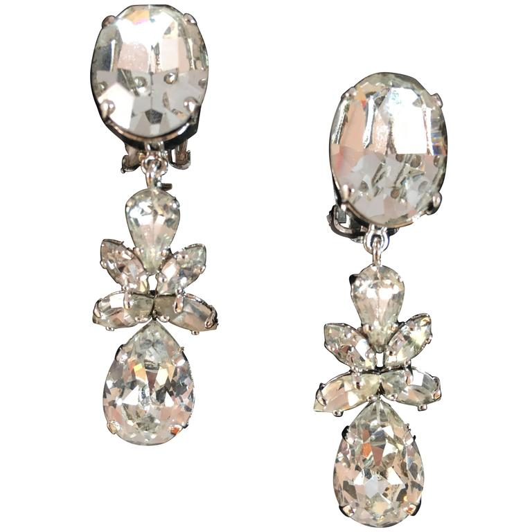 Christian Dior Vintage Dangling Clip On Diamante Earrings  1