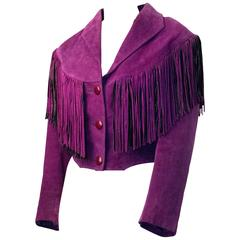 80s Purple Fringed Suede Cropped Jacket