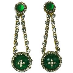 Miriam Haskell Faux Emerald Long Earrings