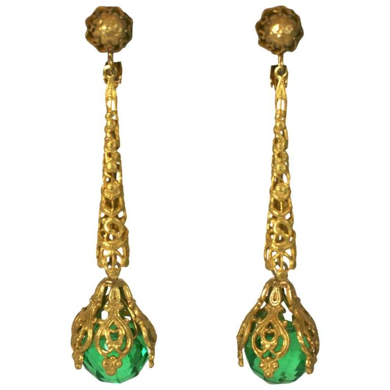 Miriam Haskell Faceted Faux Emerald Long Earrings For Sale