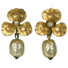 Miriam Haskell Pansy Earclips