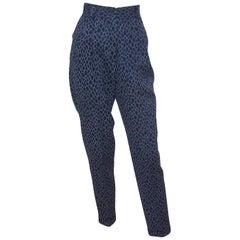 1980's Mondi Animal Print Wool Pleated Pants With Cuffs