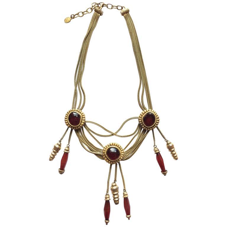 Rare Christian Dior Boutique Gripoix Glass Multi-Strand Necklace 1