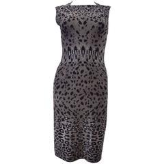 Azzedine Alaia Soft Grey Cashmere Mix Leopard Print Bodycon Dress