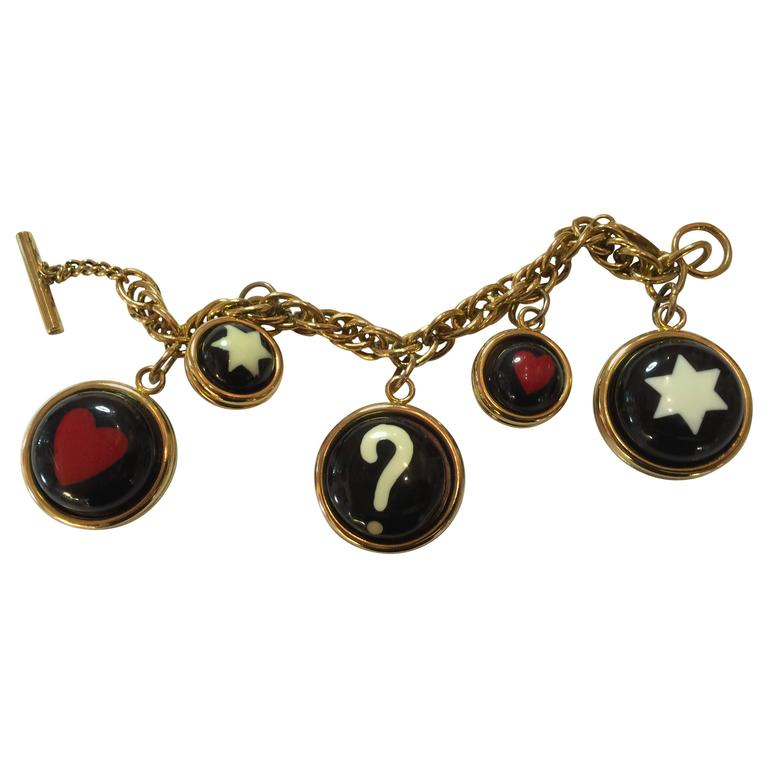 1990s  MOSCHINO Enamel and Goldtone Question Mark/Heart Charm Bracelet 1