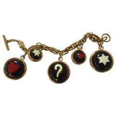 1990s  MOSCHINO Enamel and Goldtone Question Mark/Heart Charm Bracelet