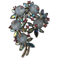 1950s Rhodium TRIFARI Floral Brooch Pin Borealis RARE Molded Rose Stonework