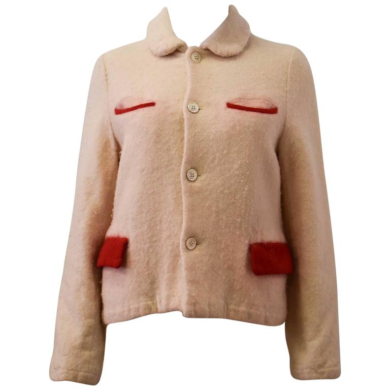 comme des garcons x robe de chambre white and red pocket bobbled wool jacket at 1stdibs. Black Bedroom Furniture Sets. Home Design Ideas