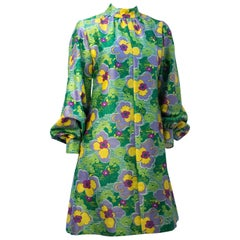 60s Green & Purple Flower Bishop Sleeve Mini Dress