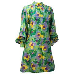 60s Green & Purple Flower Bishop Sleeve Mini Dress