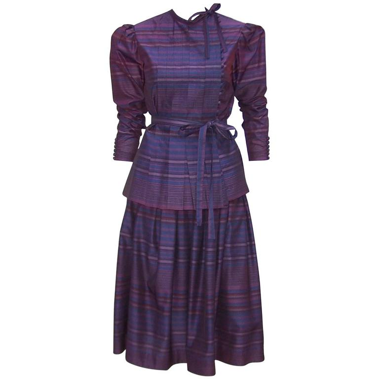 Fetching C.1980 Albert Nipon 2-Piece Victorian Style Plum Dress