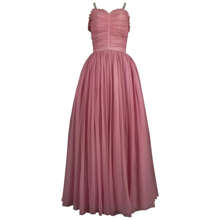Couture baby pink silk chiffon evening gown with rhinestones, circa early 1940s  For Sale