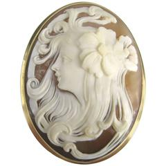 Stunning Gold Antique Cameo Pin - Pendant Lovely lady