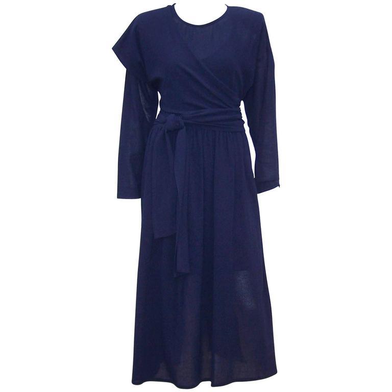 Austere 1980's Sonia Rykiel Navy Blue Wrap Dress