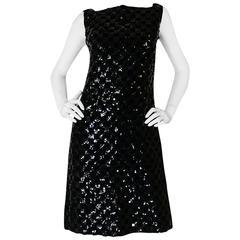 1960s Sequin & Velvet Checked Black Malcolm Starr Dress