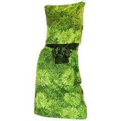1950s Green Floral Print Cotton Louis Estevez Dress