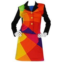 1980s Moschino Cheap & Chic Rainbow Colored Dress & Jacket